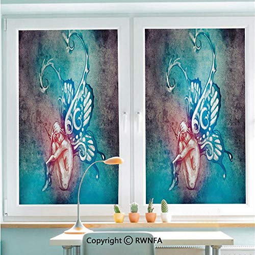 RWNFA Window Door Sticker Glass Film,Fairy with Butterfly Wings Renewal Female Rebirth Psyche Lightness of Being Anti UV Heat Control Privacy Kitchen Curtains for Glass,22.8 x 35.4 inch,Blue Purple