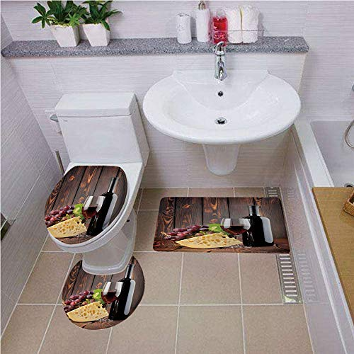 (Bath mat set Round-Shaped Toilet Mat Area Rug Toilet Lid Covers 3PCS,Wine,Red Wine Cabernet Bottle and Glass Cheese and Grapes on Wood Planks Print Decorative,Brown Burgundy Cream ,Bath mat set Round-)