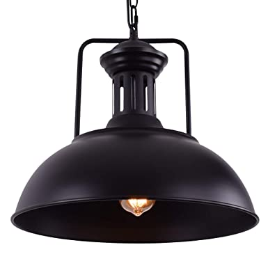 OYI Vintage Nautical Barn Pendant Light, Retro Industrial Pendant Lighting Oil Rubbed Rustic Dome Bowl Shape Mounted Light Fixture Ceiling Lamp Black
