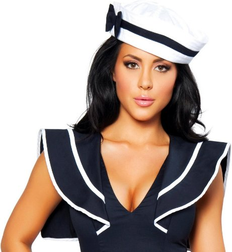 Womens Sailor Hat (Roma Costume Sailor Hat with Blue Bow Costume, White, One Size)