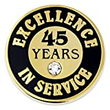 PinMart Gold Excellence in Service Enamel Lapel Pin w/Rhinestone - 45 Years