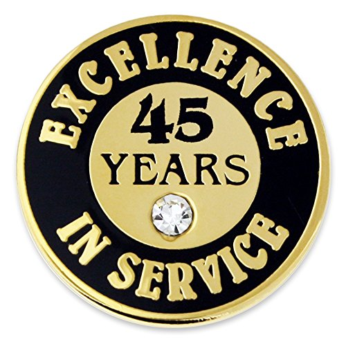 PinMart Gold Excellence in Service Enamel Lapel Pin w/Rhinestone - 45 Years by PinMart