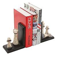 Classic Chess Design Bookends, Decorative Resin Book Shelf Organizers, Black, 2 Piece Set