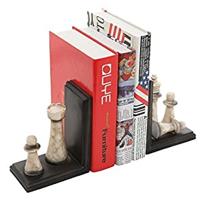 Classic Chess Design Bookends, Decorative Resin Book Shelf Organizers, Black, 2 Piece Set