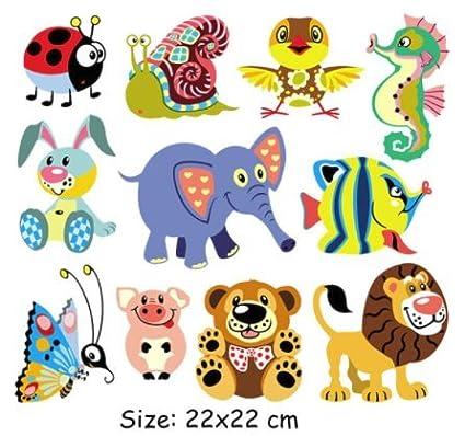 Pegatinas transfer parche termoadhesivo animalitos coloridos para vestidos, camisetas, pijamas, sudaderas, cazadoras
