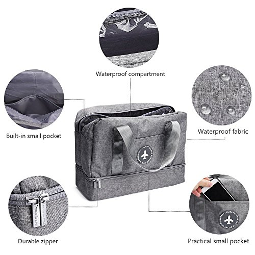 Waterproof Swimming Bag, XL Dry Wet Depart Beach Tote Bag, Portable Travel Beach Pouch Grey Shoes Organizer Suit for Outdoor Swimsuit Surfing Bathing by Noverlife (Image #2)