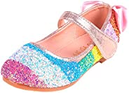God Sweet Girls Rainbow Mary Jane Flat Shoes, Shiny Sequin Princess Shoes Dance Party Pumps for Toddler/Little