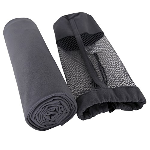 Deconovo Dark Grey Microfiber Travel Towel Ultra Compact Absorbent and Fast Drying Towel Travel Sports Towels Towel with Carry Bag for Travel, Sports, Golf, Gym, Camping, Beach, and Bath, 19x28 Inch