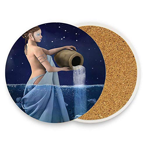 - Astrology Aquarius Lady with Pail in The Sea Water Signs Saturn Mystry at Night Stars Blue Dark Blue Ceramic Coaste Glass Cup Holder Coffee Mug Place Mats for Drinks Pack Of 1