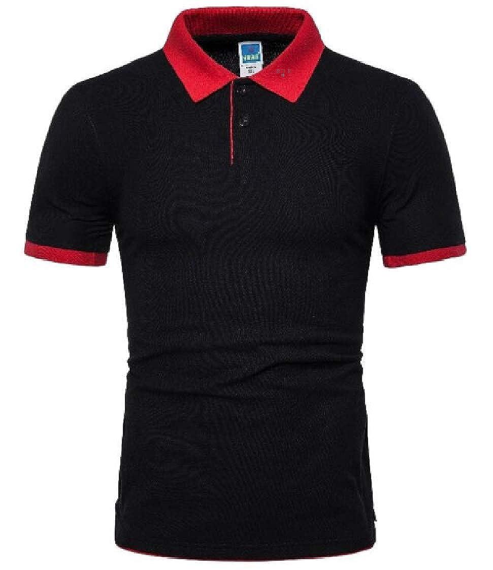 Nanquan Men Leisure Regular Fit Short Sleeve Colorblock Summer Polo Shirt
