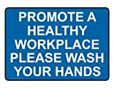 ComplianceSigns Plastic Wash Hands Sign, 7 x 5 in. with English Text, Blue