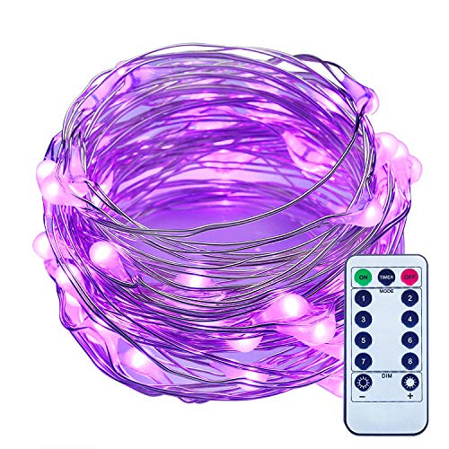 ITART Dimmable LED String Lights with Remote Purple Mini Fairy Lights Battery Operated 50 LEDs / 16.7ft (5m) Super Bright Ultra Thin Silver Wire Rope Lights for Trees Wedding Bedroom -