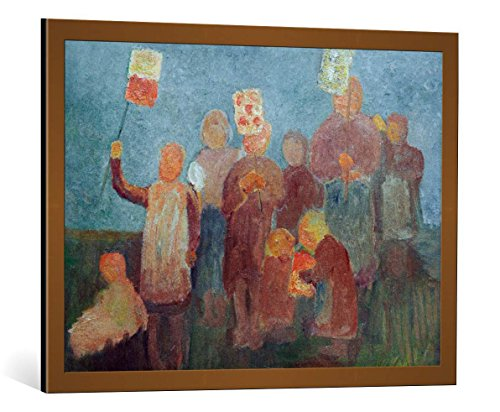 - kunst für alle Framed Art Print: Paula Modersohn-Becker Children with Lanterns - Decorative Fine Art Poster, Picture with Frame, 33.5x23.6 inch / 85x60 cm, Copper Brushed
