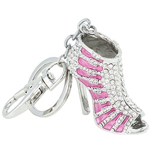 EVER FAITH Austrian Crystal Pink Enamel Sexy High Heel Shoe Keychain Clear Silver-Tone -