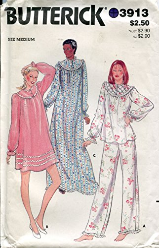 Butterick Pattern 3913 Misses' Pajama and Nightgown, Check Offers for Size