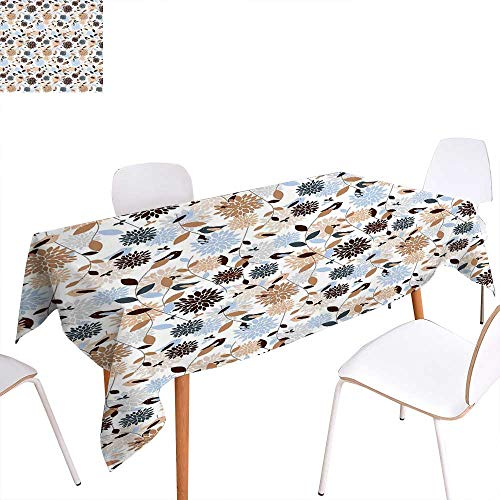 familytaste Earth Tones Rectangular Tablecloth Flourishing Hydrangea Flowers in Abstract Style Skinny Stems with Leaves Oblong Wrinkle Resistant Tablecloth 70