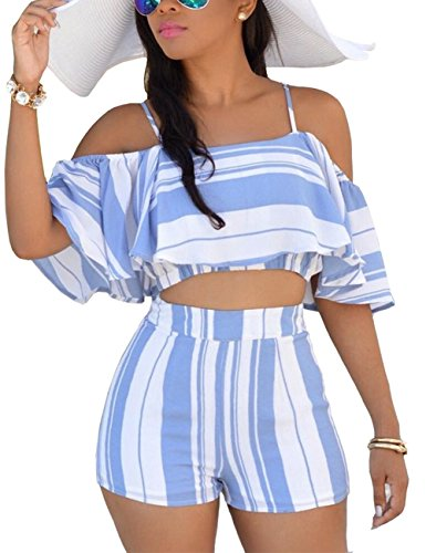 Vilover Women's 2 Pieces Outfits Print Crop Tee Top with Cute Shorts Outfit Suit (Blue, M) 9
