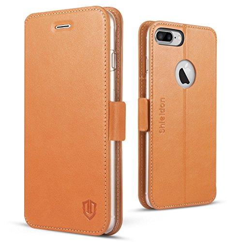 iPhone 7 Plus ケース 手帳型 本革 SHIELDON アイフォン7プラス カバー 財布型 スタンド機能 カードポケット 耐摩擦 耐汚れ 全面保護 留め具 人気 マグネット レトロブラウン