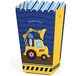 Big Dot of Happiness Personalized Construction Truck - Custom Baby Shower or Birthday Party Favor Popcorn Treat Boxes - Custom Text - Set of 12