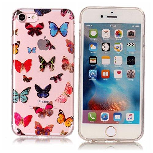 Coque Etui iPhone 7 , Leiai Couleur Papillon Silicone Gel Case Avant et Arrière Intégral Full Protection Cover Transparent TPU Housse Anti-rayures pour Apple iPhone 7