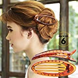Bleaching Hair From Black To Red - RC ROCHE ORNAMENT Hair Clip Classic Oval Side Opening Slide Plastic Curve Flat Comb Inner Teeth Clamp Barrette Girls Ladies Beauty Accessory Grip, 6 Pack Count Large Brown