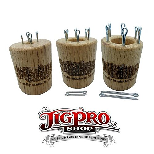 Double Sided Paracord Knitting Spool Set (Small, Medium, & Large) Oak by Jig Pro Shop