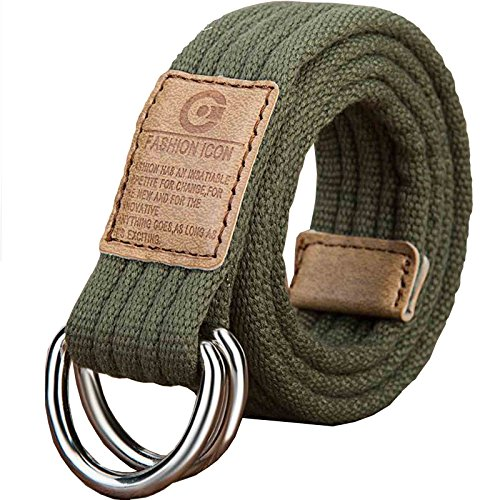 Leather D-ring Belt - Nidicus Web Belt Double D-Ring Buckle Rib with Leather Tip Solid Color Army Green 140