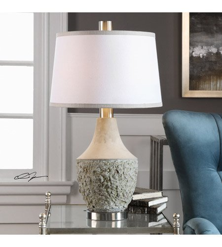 Table Lamps 1 Light with Aged Sage Gray Cement Metal Fabric Round Tapered Hardback 29 inch 150 Watts