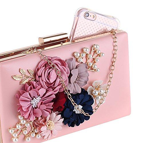 Pink Women Pearl Evening Handbag Party Clutches Purses Jin Beaded Flower Wedding for Ya qw475B