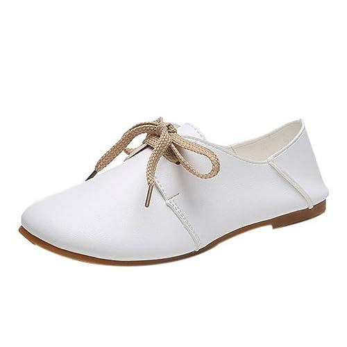 Longra Donne Scarpe comode Luce rotonda Lace Up Granny Flats Shoes (EU Size:36, Bianca)