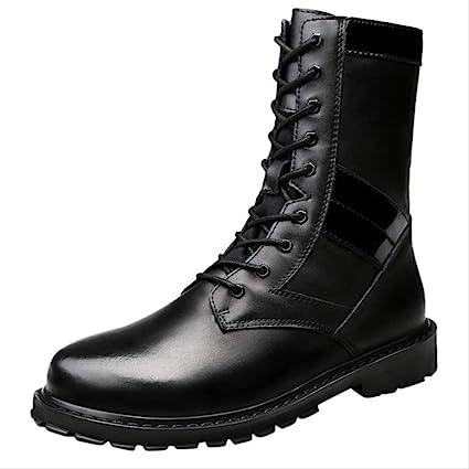 botte haute cuir homme militaire