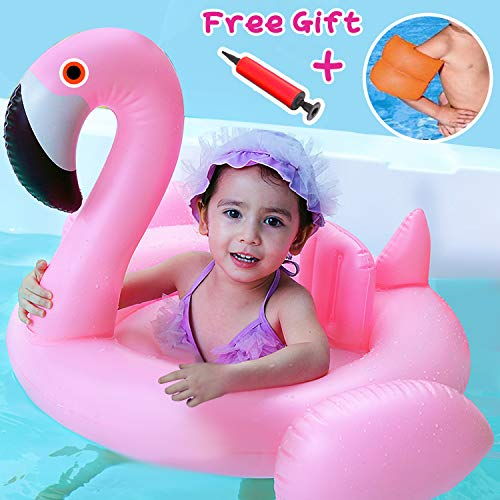 (Baby Float - Infant Swimming Float with Double Arm Floats and Air Pump, Baby Flamingo Inflatable Swim Ring Outdoor Beach Swimming Pool Toys Accessories Summer Play Pool for Baby Toddler of 3-48 Month)