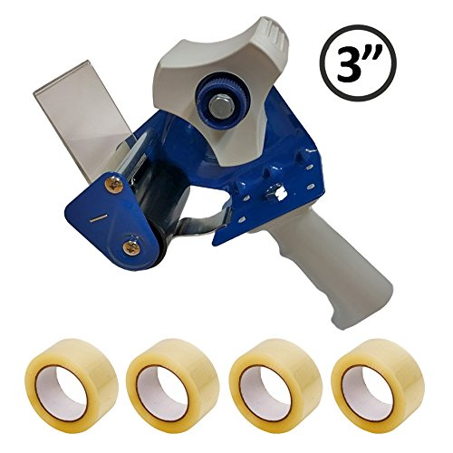 3 Inch Core Heavy Duty Metal Packing Tape Gun + 4 Rolls of 3'' Clear Packing Tape KIT - Blue