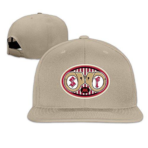 Custom Solid San Francisco Football 49ers Fitted Flat Bill Baseball Cap Natural