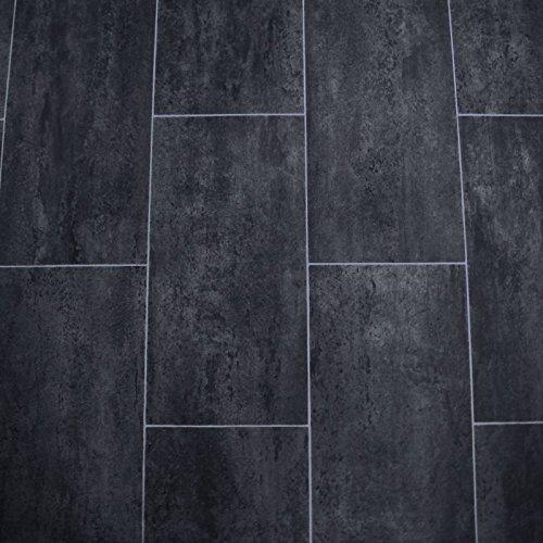 PVC Bodenbelag Fliese Schwarz Melbourne Noir Breite 4 m (9,95 EUR pro m²)