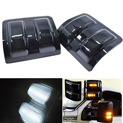 2x Ford Super Duty Side Mirror Led signal light Smoked Lens Dual Color For F-250 F-350 F-450 F-550 Ford Super duty 2008 2009 2010 2011 2012 2013 2014 2015 2016 ()
