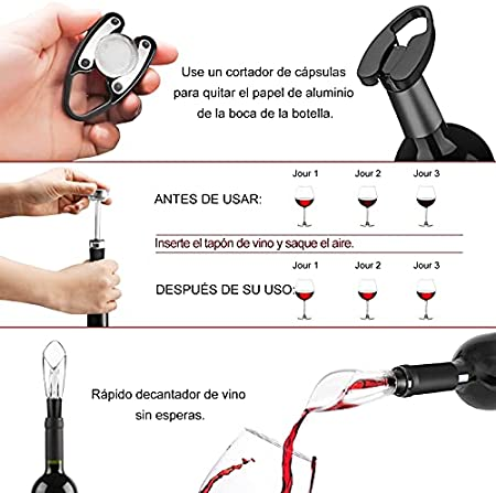 Flauno Sacacorchos Eléctrico – Automatico Abrelatas de Vino Electrico | Abridor Botellas Vino Recargable con Corta Cápsulas | Vertedor de Vino | Tapón de Vino Silicona de Vacío y Base de Recarga