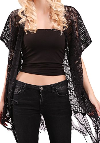 MissShorthair Womens Fashion Lace Crochet Open Front Cardigan Kimono Blouse Tops with Tassels from MissShorthair