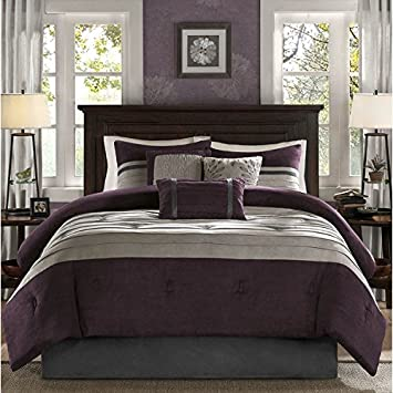 7 Piece Plum Purple Taupe Patchwork Comforter King Set, Grey Adult Bedding  Master Bedroom Stylish