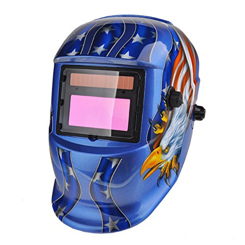 [Solar 3 Lens Tig Mig Auto-Darkening Welding Helmet TIG ARC Mask Hood Blue , with Grinding Feature Extra lens covers Good for Arc Tig Mig] (Real Fx Masks)