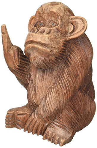 Things2Die4 Hand Carved Mahogany Rude Monkey Flipping Bird Statue 6 In. ()