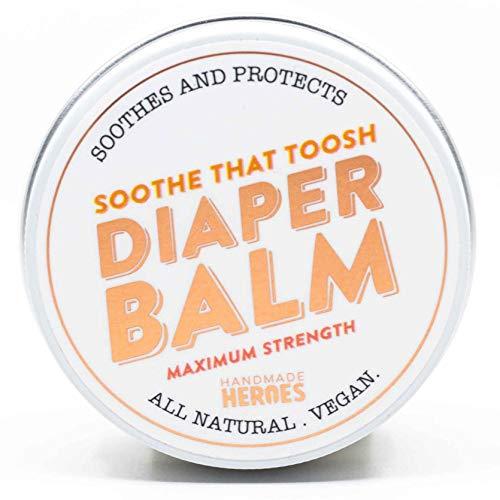 Natural and Vegan Diaper Rash Cream | Baby Nappy Cream Maximum Strength 40% Zinc Oxide Barrier Cream | Handmade Heroes Baby Rash Cream and Butt Paste 2 oz