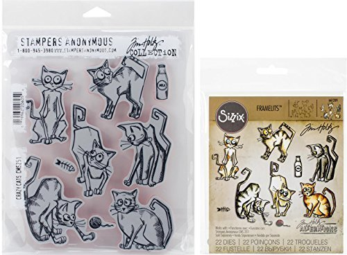 Tim Holtz Crazy Cats Cling Rubber Stamps and Thinlits Dies Bundle (Set of 2 Items)