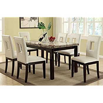 Poundex F2094 U0026 F1052 Faux Marble Top W/ White Leatherette Chairs Dining Set