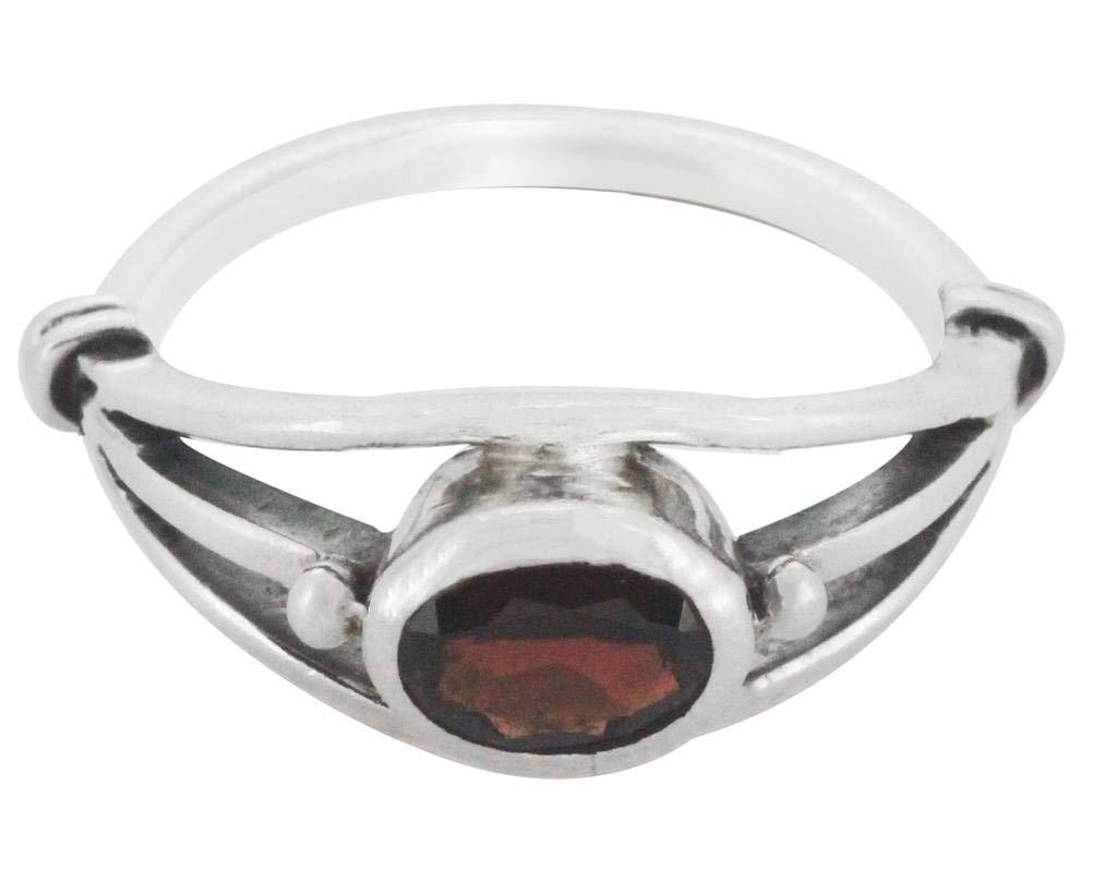M/s Gajraj Garnet Stone Sterling 925 Silver Ring, US-11.5