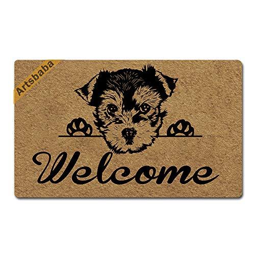 Artsbaba Welcome Dog Doormat Yorkshire Terrier Door Mat Rubber Non-Slip Entrance Rug Floor Mat Balcony Mat Funny Home Decor Indoor Mat 30 x 18 Inches, 0.18 Inch Thickness