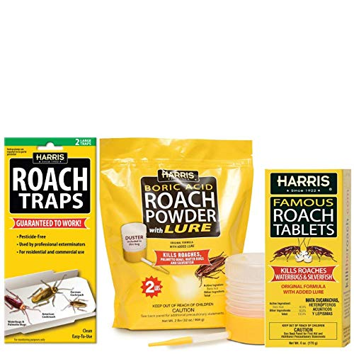 Harris Roach Kit Value Pack - Includes 32oz Acid Roach Killer with Powder Duster, 6oz Roach Tablets with Lure, and 2-Pack Roach Glue Traps