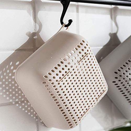 Colander-3 Set Strainers and Colanders for Kitchen Small Plastic Pasta Strainer Fruits Vegetable Noodle Pasta Food Drain Basket Space Saver Portable Drainer, Beige