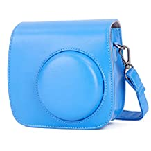 Fujifilm Instax Mini 9 Case, Phetium Soft PU Leather Protective Case with Shoulder Strap and Pocket for Fujifilm Instax Mini 8 8+ / Mini 9 Instant Camera (Cobalt Blue)