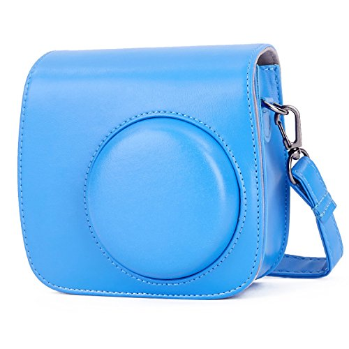 Phetium Cobalt Blue Protective Case for Fujifilm Instax Mini 9 Mini 8 Mini 8+, Soft PU Leather Bag with Pocket and Removable Shoulder Strap(Cobalt Blue)